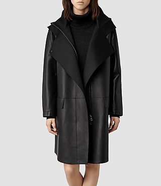 Womens Barham Leather Parka Jacket (Black)