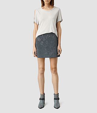 Womens Nathalia Embroidered  Suede Skirt (Petrol Blue)