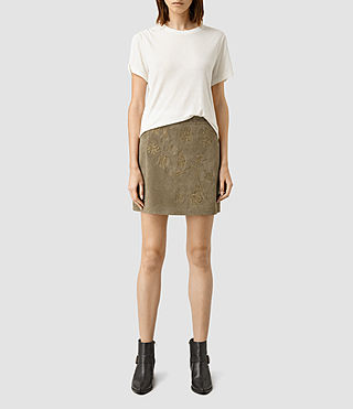 Womens Nathalia Embroidered  Suede Skirt (Khaki Green)