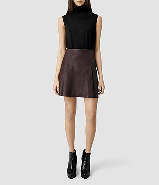 Womens Olvera Leather Skirt (Deep Burgandy)