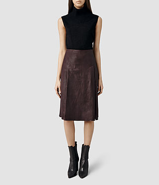 Womens Olvera Long Leather Skirt (Deep Burgandy)