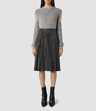Womens Olvera Long Leather Skirt (Deep Slate)