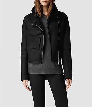 Womens Malver Sheepskin Leather Jacket (Black)
