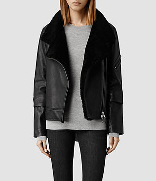 Womens Bayes Shearling Leather Jacket (Black)
