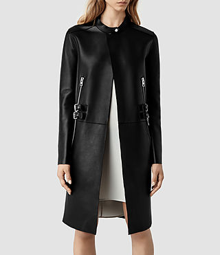 Womens Langer Leather Coat (Black)
