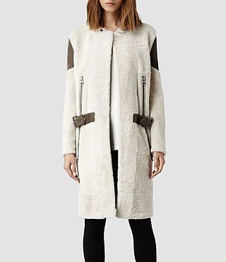 Womens Langer Sheepskin Coat (Ecru/Khaki)