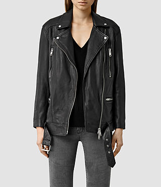 Damen Laurel Leather Biker Jacket (Black)