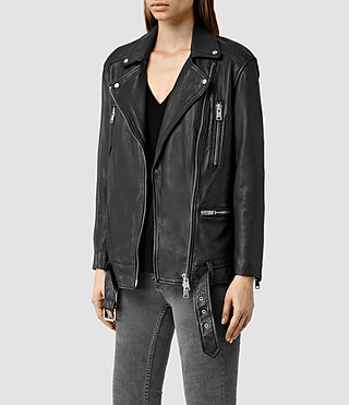 Women's Laurel Leather Biker Jacket (Black) - product_image_alt_text_2