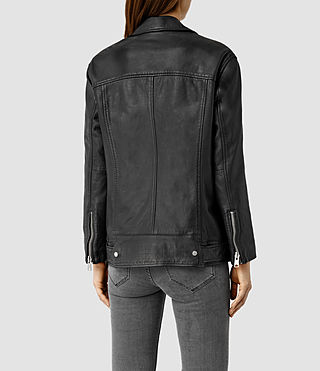 Women's Laurel Leather Biker Jacket (Black) - product_image_alt_text_3