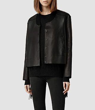 Womens Tassel Leather Bomber Jacket (Black)