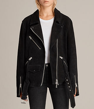 Donne Giacca Plait Biker Oversize (Washed Black) - Image 1