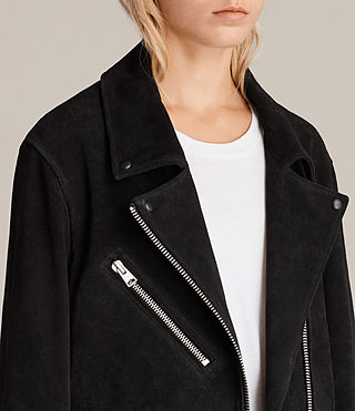 Damen Oversized Plait Bikerjacke (Washed Black) - Image 2