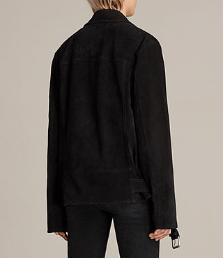 Damen Oversized Plait Bikerjacke (Washed Black) - Image 8