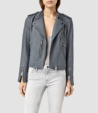 Womens Klyn Leather Biker Jacket (SLATE BLUE)