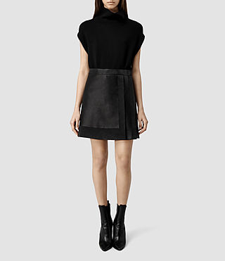 Womens Melina Leather Skirt (Black/Washed Black)