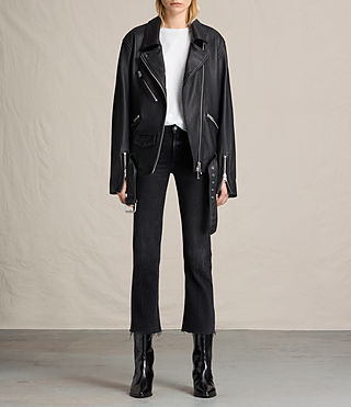 Damen Kumara Oversized Leather Biker Jacket (Black)
