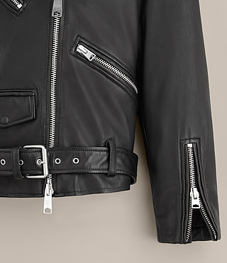 Womens Kumara Oversized Leather Biker Jacket (Black) -