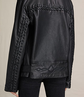 Womens Kumara Oversized Leather Biker Jacket (Black) - product_image_alt_text_2