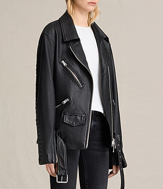 Womens Kumara Oversized Leather Biker Jacket (Black) - product_image_alt_text_3