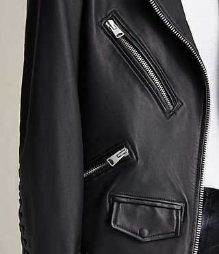 Womens Kumara Oversized Leather Biker Jacket (Black) - product_image_alt_text_4
