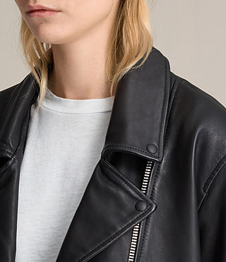 Womens Kumara Oversized Leather Biker Jacket (Black) - product_image_alt_text_5
