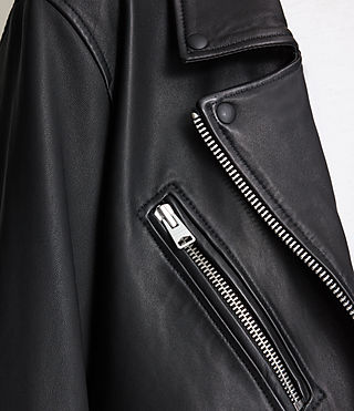 Womens Kumara Oversized Leather Biker Jacket (Black) - product_image_alt_text_6