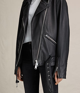 Womens Kumara Oversized Leather Biker Jacket (Black) - product_image_alt_text_7