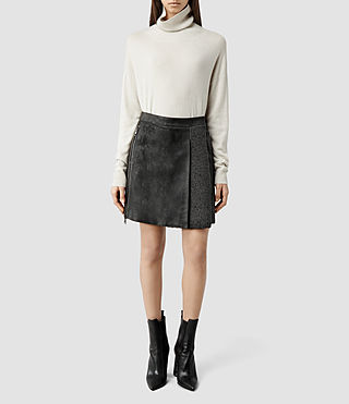 Womens Carlton Sheepskin Skirt (Anthracite/Taupe)