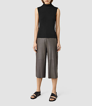 Mujer Mitel Leather Culotte Pants (Slate Grey)