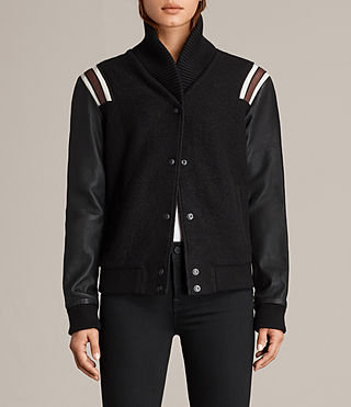 Women's Bordin Striped Jacket (Black/Bordeaux) - Image 1