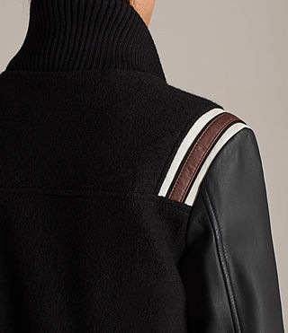 Women's Bordin Striped Jacket (Black/Bordeaux) - Image 6