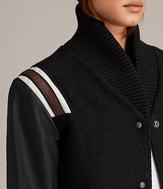 Women's Bordin Striped Jacket (Black/Bordeaux) - Image 7