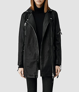 Womens Asker Leather Biker Jacket (Black)