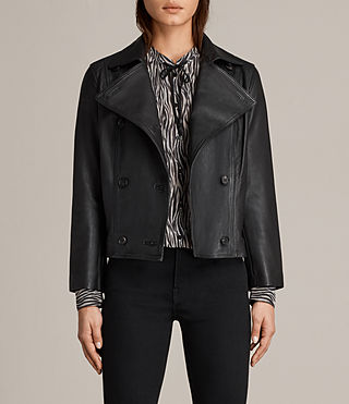 Women's Deebee Leather Blazer (Black) -