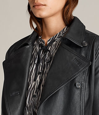 Women's Deebee Leather Blazer (Black) - product_image_alt_text_2