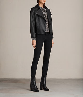 Women's Deebee Leather Blazer (Black) - product_image_alt_text_3