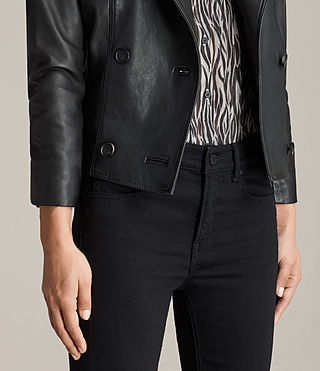 Women's Deebee Leather Blazer (Black) - product_image_alt_text_4
