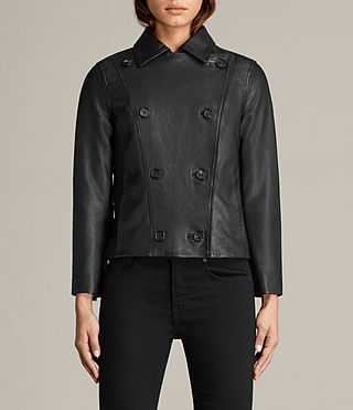 Women's Deebee Leather Blazer (Black) - product_image_alt_text_5