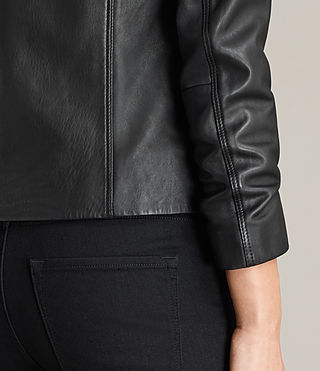 Women's Deebee Leather Blazer (Black) - product_image_alt_text_6
