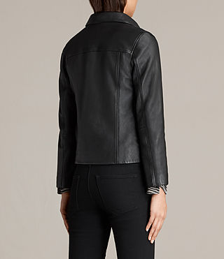 Women's Deebee Leather Blazer (Black) - product_image_alt_text_8