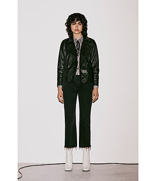 Women's Deebee Leather Blazer (Black) - product_image_alt_text_9