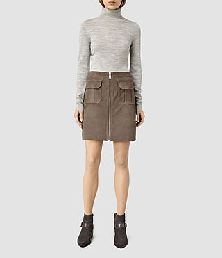 Womens Taylor Suede Skirt (Dark Khaki Green)