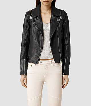 Womens Range Leather Biker Jacket (Black)
