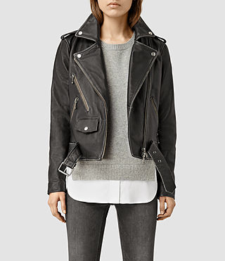 Womens Agnes Leather Biker Jacket (Black)