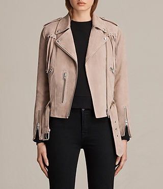 Womens Tassel Balfern Suede Biker Jacket (Dusty Pink) - product_image_alt_text_1