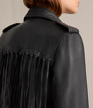 Mujer Tassel Balfern Leather Biker Jacket (Black)