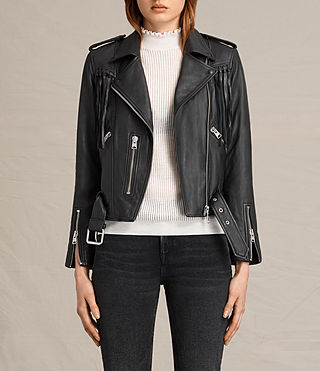 Womens Tassel Balfern Leather Biker Jacket (Black) - product_image_alt_text_2