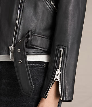 Womens Tassel Balfern Leather Biker Jacket (Black) - product_image_alt_text_5