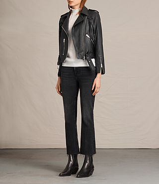 Womens Tassel Balfern Leather Biker Jacket (Black) - product_image_alt_text_6