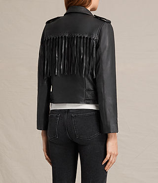 Womens Tassel Balfern Leather Biker Jacket (Black) - product_image_alt_text_8